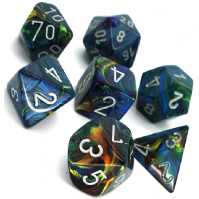 Green & Silver Festive Polyhedral 7 Dice Set